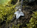 Tiny Elven Ivy Leaf with Rainbow Moonstone by QuintessentialArts