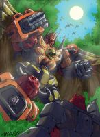 Predaking vs Cliffjumper by MarceloMatere