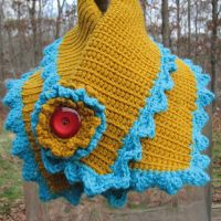 Mustard and Teal Scarflette by windyriverr