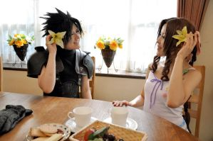 Zack and Aerith in aerith house. by xkoukix