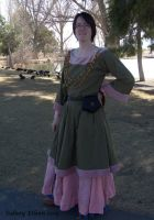 Green Tunic Dress with Pink Trim by sidneyeileen