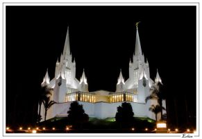 Mormon Temple at Night by paradigm-art