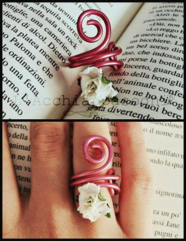 Aluminium Ring pink with paper flower - adjustable by AliDiCeraBianca