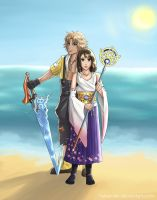 Tidus and Yuna by Hylian-Sky