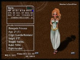Chrono Cross: Marle Status by Rjenyawd
