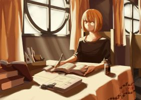 young mello studying alone by Airlessness