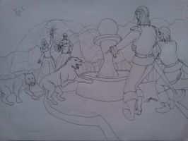 Two Knights and Maidens (2nd sketch inked) by dhbraley