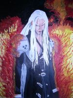 Sephiroth in the fire by bluedragoneye