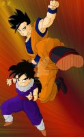 Kid and Adult Gohan by RinskeR