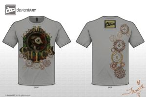 SteamPunk Chick-T-Shirt Gray by tessieart333