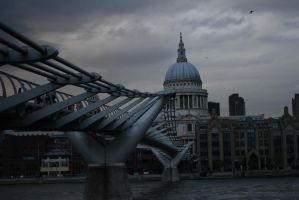 St. Pauls Cathedral and Millennium Bridge by ComradeTwitch