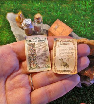 unicorns and sirens - Two Miniature Magic Scrolls by AnnaBellLeeArt