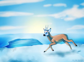 blue morning run by Misspic
