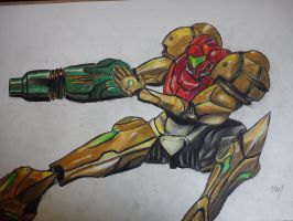 Samus - With suit by The8bitpixel