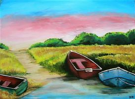 Boats in the Bay by DaveSchultz