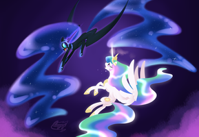 Celestia vs luna -commission- by bronyseph