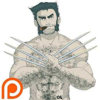 Hunky Sexy Wolverine Pin Up by Luisazo