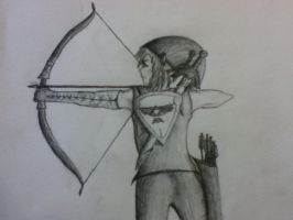 Link Preparing to Loose the Arrow by HyruleWarrior7955