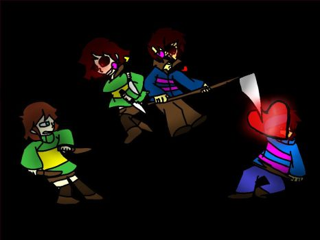 Swap!Frisk and Chara vs Frisk and Swap!Chara by GreenSanity