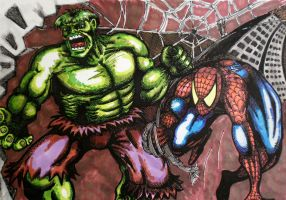 Hulk and Spider-man by Thelostsoulofpop
