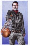 Jeffrey Dean Morgan - color ballpoint pen drawing by 22Zitty22