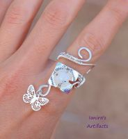 Moonstone wire wrapped butterfly ring by IanirasArtifacts