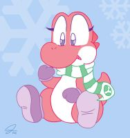 Strawberry Winter Yoshi by PsyRedtails