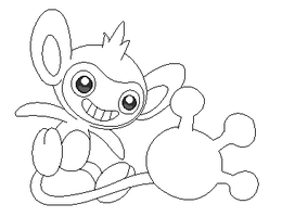 aipom lineart 3 by michy123