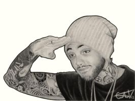 Travie McCoy Black and White by carlosvelasquezart
