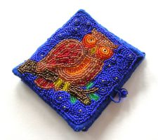 Beaded Owl Needle Case by wee-beastie