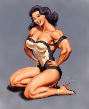 Female Muscle Pin-up by DavidCMatthews