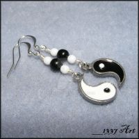 Yin and Yang Earrings by 1337-Art