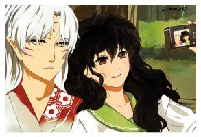 Draw it Over: Sesshoumaru and Kagome by arriku
