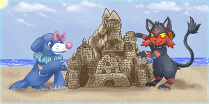 Haupia and Keahi's sandcastle by tigersylveon