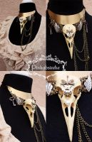 FAUX Raven skull necklace by Pinkabsinthe