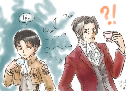 Cpatain Levi and Prosecutor Edgeworth by mikmix