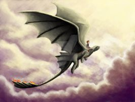 WIP - Hiccup and Toothless flight by louise-rabey