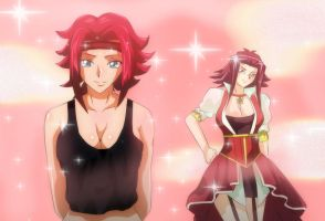 Crossover Code Geass Kallen Yugioh 5'd Akiza by Mr123GOKU123