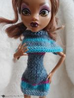 Hand knit big collar dress for monster high by kivrin82