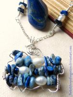 Lapis Lazuli and Freshwater Pearl Necklace by Forbiddenynforgotten