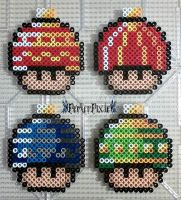 Special Christmas Bulb Mushrooms by PerlerPixie