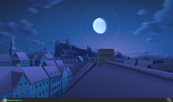 Town at Night - The Tale Teller by zeedox