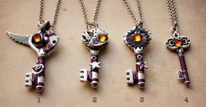 Steampunk key pendants by Devil's Jewel by Catarios