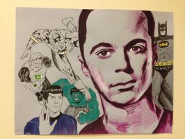 Sheldon and the superheroes by flourfour89