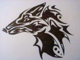 Tribal Wolf Head by WolfLAF