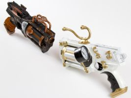 Ebony and Ivory steampunk guns #2 by 3Dpoke