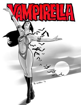 Vampirella Showing Off Her Name To Some Bats by bgolden1