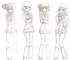 School girl sketches by sassie-kay