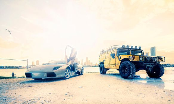 Hummer H1 and Lambo by dejz0r