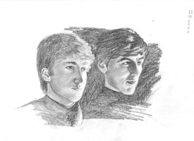 young john lennon and george harrison by bizdikbirt